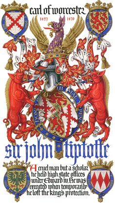 Coat of arms of John Tiptoft (1427-1470), 1st Earl of Worcester (E 1449), KG.