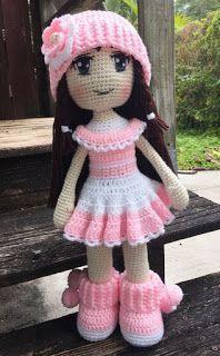 Crochet Dolls Free Patterns, Crochet Doll Pattern, Doll Patterns, Pattern Ideas, Clothes Patterns, Diy Crafts Crochet, Cute Crochet, Crochet Baby, Knitted Dolls