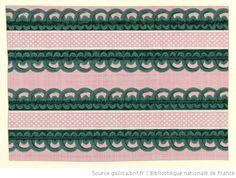 Titre : [Manufacture Jacquemart et Bénard. Bordure. Deux bandes imitant un galon en passementerie sur un fond de linon batiste à plumetis] : [papier peint]  Éditeur : Jacquemart et Bénard (Paris)  Date d'édition : 1800
