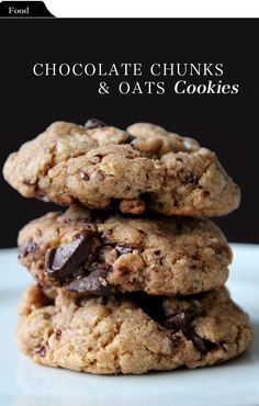 Brown butter, Chocolate chunks & Oats Cookies