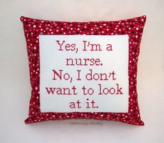Funny Cross Stitch Pillow Red White And Black by NeedleNosey, $25.00