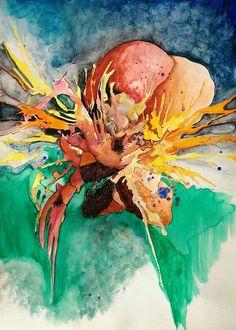 """Untitled""Aquarel & Ink on paper , 39x29cmBy Dyanko Randi"
