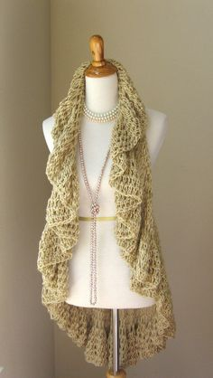 BEIGE CROCHET VEST Tops / Circular Fashion Cream by marianavail, $62.00