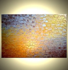 Original Abstract Painting - Gold Metallic, Palette Knife Abstract Bronze Modern Textured Art by Lafferty - 24 x 36 - 22% Off Sale. $155.00, via Etsy.