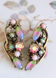 Vintage Gold tone Earrings Opal Glass Pink and Green Rhinestones   | eBay