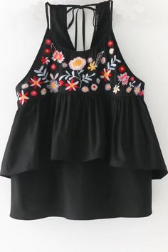 This cami top is perfect with a mini skirt for this reason. #black #camisole #floral #embroidery #summer #beach #cute #maykool