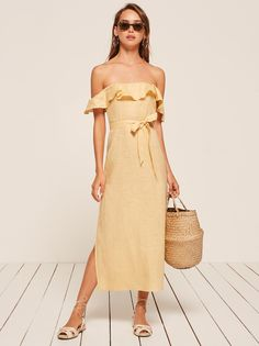 Being naked is the #1 most sustainable option. Reformation is #2. Eco friendly dresses, jumpsuits, two pieces, tops, bottoms, wedding dresses, tees etc.