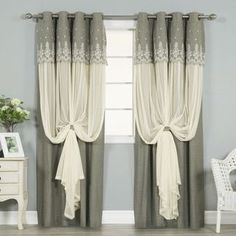 Aurora Home Grace Lace-overlay Grommet-top Curtain Panel Pair - Free Shipping Today - Overstock.com - 19655614 - Mobile