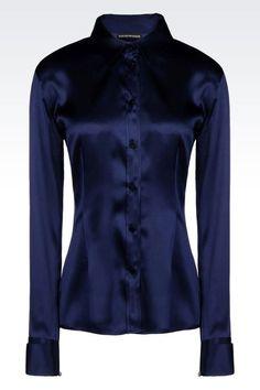 Emporio Armani Women Long Sleeve Shirt - CLASSIC SATIN SHIRT Emporio Armani Official Online Store