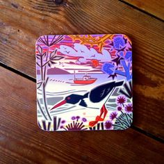 Hard-wearing melamine #coaster featuring a beautiful #oysterCatcher #design by #British #artist Jenny Tylden-Wright.  #countryside #wildife #seaside #boats #birds #sea #coast #oyster #catcher