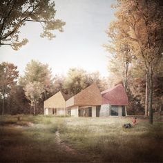"""""""Our recent image for James Gorst architect's Sevenoaks wildlife centre submission. Architecture Visualization, Architecture Drawings, Facade House, House Facades, Small Buildings, Architect Design, Inspiration, House Design, Landscape"""
