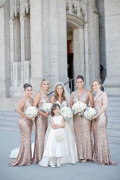 Can't get enough of the glittering bridesmaids dresses