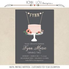 birthday invitation cake topper with name hand by VonnLouDESIGNS