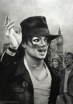 Pencil drawing by artist Tania Larionova of Michael Jackson with the London clock in the background. Michael Jackson Hot, Jackie Jackson, Michael Jackson Drawings, Janet Jackson, Michael Art, Black Celebrities, Pencil Portrait, Pop, Pencil Drawings