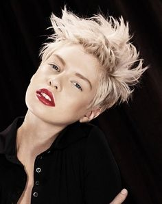 A short blonde straight coloured spikey Rock-Chick Womens haircut hairstyle by Web Collections