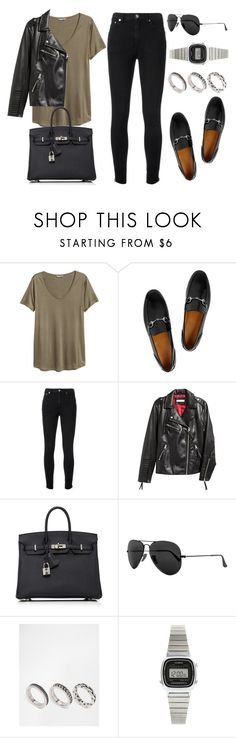 """""""Untitled #13517"""" by vany-alvarado ❤ liked on Polyvore featuring H&M, Gucci, Yves Saint Laurent, Hermès, Ray-Ban, ASOS and Casio"""