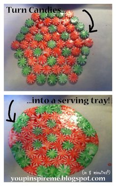 DIY Christmas Goodies Serving Tray from CANDY!  Just arrange on a cookie sheet lined with parchment paper, and bake at 350 for 8-10 minutes. Then let completely cool at room temperature. After your party, break and keep in a candy jar! Great idea for a plate of cookies you don't have to get back.