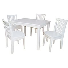 @Overstock - This kids' table and chair set features a sleek linen white color option on solid parawood construction. The kids' furniture includes a rectangular table and four chairs.http://www.overstock.com/Home-Garden/Juvenile-Linen-White-Table-with-Four-Chairs-Set/6217390/product.html?CID=214117 $298.99