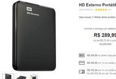 HD Externo Portátil WD Elements 1 TB USB 3.0 << R$ 21699 >>