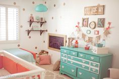 Coral and Aqua nursery decor ideas: String Letter, Gold polka dots, color inspiration