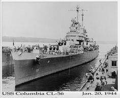 USS Columbia (CL-56) Jan 20, 1944 Heavy Cruiser, United States Navy, Navy Ships, Submarines, Battleship, Us Navy, Military History, Great Places, Boats