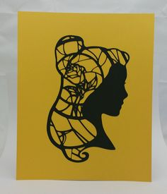 """Belle Beauty and the Beast Inspired Cut Paper Silhouette Portrait 8"""" x 10"""" Cut Out Art Portraits"""