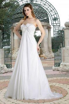 Robe de mariée empire mousseline pour femme enceinte