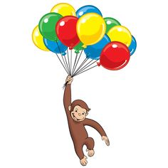 Its Curious Georges Birthday we have something to read, something to do an somewhere to go to get your fill of Monkey fun! Curious George Christmas, Curious George Party, Curious George Birthday, Happy 75th Birthday, 2nd Birthday Parties, Hot Air Balloon Cartoon, Little Library, Dora The Explorer, Free Coloring