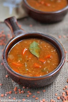 Quick & Easy hearty & healthy lentil soup - perfect for a chilly fall or winter evening!
