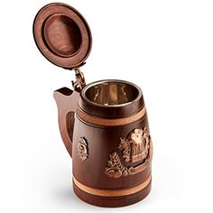 You have seen them in movies, on TV, and maybe even in museum exhibits. Now you can have one on your own man cave. This solid wood beer mug featuring lid has been crafted according to a traditional design. It looks as if it has been transported directly from the middle ages into the future. Best... see more details at https://bestselleroutlets.com/home-kitchen/kitchen-dining/dining-entertaining/bar-tools-glasses/product-review-for-handmade-beer-tankard-with-lid-stein-is-large
