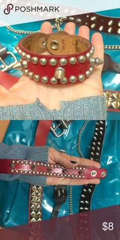 Spike Bracelet punk rock Spiked cuff bracelet. ❤️Buying thrift is punk rock. This dog collar style spike bracelet has probably been to more shows than you have   Hot Topic. Also available in bundle with other bracelet and belts. Hot Topic Jewelry Bracelets