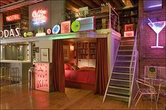 bachelor loft bed | ... ; the rest of his loft then became a gallery for his neon collection
