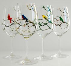 Seasonal Birds Wine Glasses--Cardinal, Bluebird, Yellow Finch and Hummingbird--Set of 4 Four Seasons Wine Glasses hand-painted by Mary Elizabeth Arts