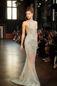 Metallic hues, like a subtle sheen of silver or a bit of bold gold dominated New York Bridal Fashion Week. Here, Reem Acra. Berta Bridal, Bridal Gowns, Wedding Gowns, 2017 Bridal, Evening Dresses, Prom Dresses, Bridal Fashion Week, Sheer Dress, Dream Dress