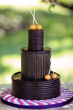 Chocolate Wrapped Cake by The Hudson Cakery  |  TheCakeBlog.com