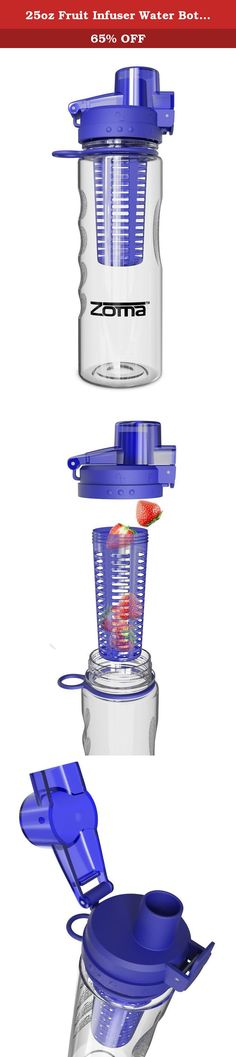 25oz Fruit Infuser Water Bottle with Carrying Loop and Finger Grips for Easy Transport. Safety, Convenience and Fun...All in a Bottle! Discover Why Zoma is Your Best Choice for Infused Water Safety First -Forget dangerous broken glass, Zoma's premium Tritan Plastic is shatterproof and worry free. Grips on the bottle prevent slipping -Beware of plastics containing BPA that leach into your water. Don't risk your health - We don't, and that's why our bottles are certified BPA free…