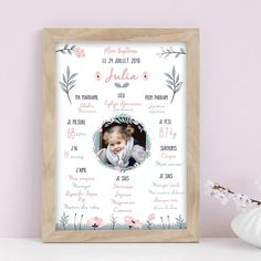 affiche_personnalisee-baptism-under-idea-gift of - Valentins Day Valentines Day Decorations, Valentine Day Cards, Valentines Diy, Valentine's Day Diy, Balloons, Projects To Try, Baby Shower, Birthday, Frame