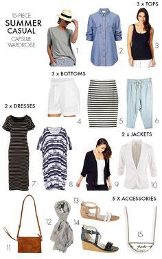 15-piece summer casual capsule wardrobe