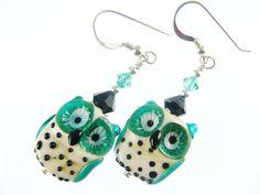 Teal Owl Earrings Lampwork Earrings Glass Bead by JadjusJewelry, $34.00