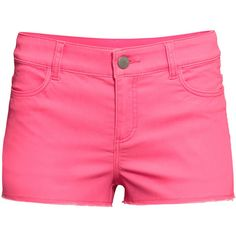 H&M Short twill shorts ($7.59) ❤ liked on Polyvore featuring shorts, bottoms, pants, pink, neon pink, h&m, hot short shorts, hot pink shorts, hot pants and micro shorts