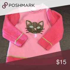 Garnet Hill wool cat sweater EUC. Garnet Hill little girls wool pink sweater with cat. Adorable. Mock turtle neck. Size L. Looks like a size 4/5 Shirts & Tops Sweaters