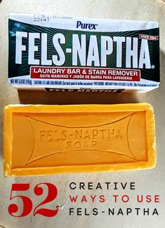 Have you ever used Fels-Naptha soap? It's so much more than a laundry soap that these 52 ways to use Fels Naptha might just shock you! In fact, I think you'll love these for Fels Naptha so much it will be a new favorite! Household Cleaning Tips, Cleaning Recipes, House Cleaning Tips, Cleaning Hacks, Household Products, Cleaning Solutions, Spring Cleaning, Frugal Living Tips, Frugal Tips