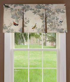 Aviary Lined Pleated Valance kitchen window with light filtering shade underneath in a linen or natural color Box Pleat Valance, Valances & Cornices, Valance Window Treatments, Kitchen Window Treatments, Box Pleats, Window Coverings, Window Valances, Pelmets, Country Valances