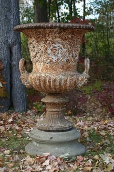 century, antique English cast iron urn, campana form with handles ending in masks. Urna in Latin means a pot, jar, or ves. Urn Planters, Urn Vase, Garden Urns, Pot Plante, Antique Iron, Garden Ornaments, Natural Living, Garden Inspiration, Beautiful Gardens