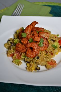 Spicy Shrimp and Quinoa Salad with a Jalapeno Cilantro Dressing