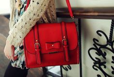 Punch it up with just the right touch of red...Oooooh baby!!!!  sweet & chic #red #bag #crossbody