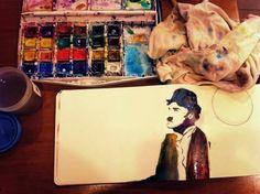 #moleskine #charliechaplin #illustration #watercolor #sharpie #art