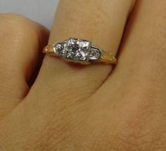 Geometric 1940s Two Tone Diamond Engagement Ring  by MSJewelers, $1065.00  Love it!