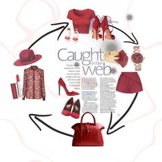 Red by giuliamulonia on Polyvore featuring polyvore, fashion, style, Diane Von Furstenberg, RED Valentino, Yves Saint Laurent, Anthony Vaccarello, Aquazzura, Charlotte Olympia, Golden Goose, Michael Kors, Lola Rose, Bebe and Maybelline