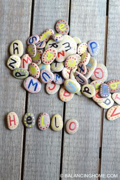 Alphabet Rocks – Balancing Home DIY alphabet rocks. Great for letter recognition, reading and spelling activities. 40 Diy Gifts, Diy Gifts For Kids, Homemade Gifts, Diy For Kids, Crafts For Kids, Help Kids, Rock Crafts, Arts And Crafts, Diy Crafts